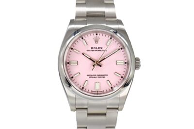 Replica Rolex Oyster Perpetual Pink Dial Parallel Bars Hour Markers Oyster Strap  Watch 126000