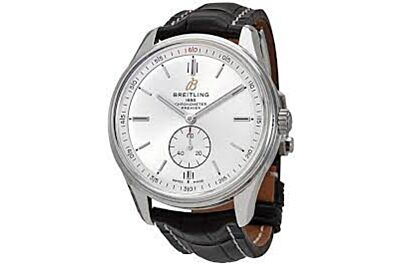 Breitling Premier Silver Dial & Case Second Subdial Minute Track Black Leather Strap Watch A37340351G1P1