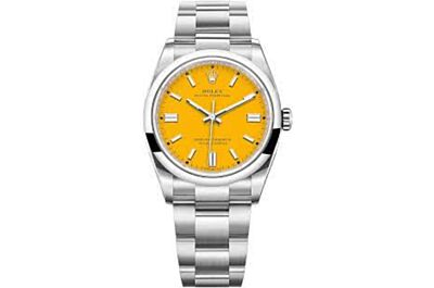 Men's Rolex Oyster Perpetual Orange Dial Parallel Bars Hour Markers Oyster Strap  Replica Watch 126000
