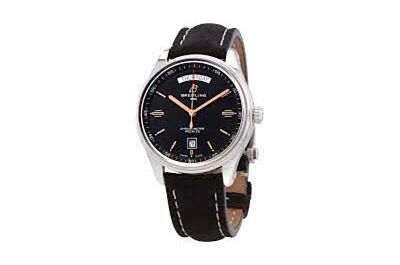 Breitling Premier Black Dial Black Minute Track Black Leather Strap Date Window Watch A45340211G1X1