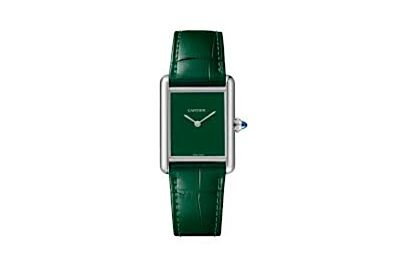 Retro Cartier Tank Must Large Model Stainless Steel Case Green Dial Leather Strap Watch WSTA0056