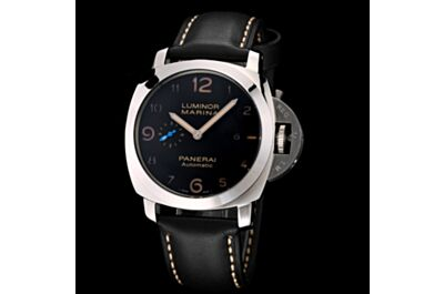 Best Panerai Luminor Marina Black Dial Stainless Steel Case Date Small Seconds Black Leather Watch