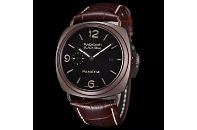 Novel Panerai Radiomir Brown Frosted Case Black Dial Date Small Seconds Brown Strap Watch