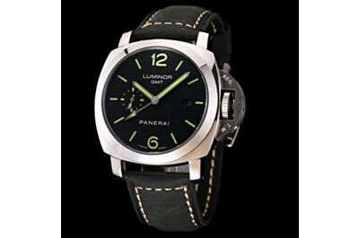 Panerai Luminor GMT Black Plaid Dial Luminous Hands Hour Markers Stainless Steel Case Date Small Seconds Watch