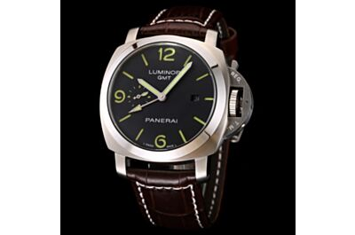 Replica Panerai Luminor GMT Stainless Steel Case Brown Leather Strap Black Dial Small Seconds Date Window Watch