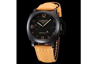 Fake Panerai Luminor GMT Black Case & Dial Arabic Numerals Hour Markers Date Small Seconds Brown Strap Watch