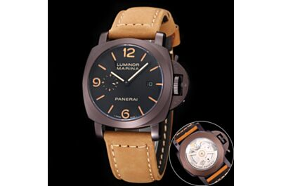 Panerai Luminor Marina Brown Frosted Dial & Strap Black Dial Arabic Numerals Hour Marker Watch