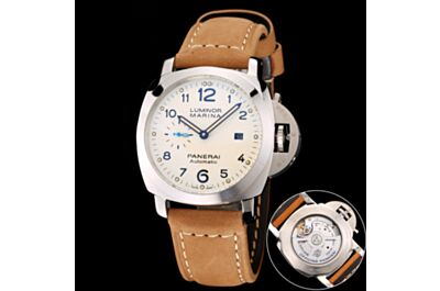 Elegant Panerai Luminous Marina Stainless Steel Case White Dial Arabic Numerals Hour Markers Date Small Seconds Watch