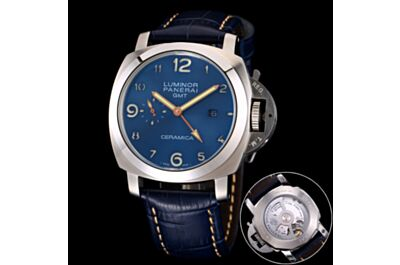 Panerai Luminor GMT Blue Dial Stainless Steel Case Arabic Numerals Hour Markers Date Small Seconds Blue Strap Watch