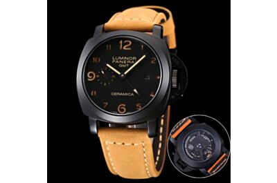 Fake Panerai Luminor GMT Black Dial & Case Date Small Seconds Frosted Brown Strap Watch