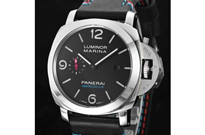 Fake Panerai Luminous Marina Stainless Steel Case Black Dial Red Blue Coil Black Strap Date Small Seconds Watch