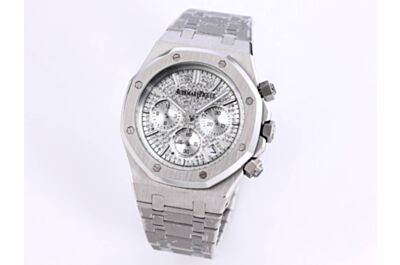 Replica AP Royal Oak Diamond Dial Hours, Minutes And Seconds Counters Date Silver Brushed Stainless Steel Case Strap Watch