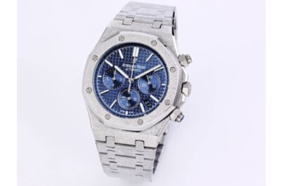 Fake AP Royal Oak Watch Blue Grande Tapisserie Dial Hours Minutes Seconds Counters Date Silver Frosted Case Strap