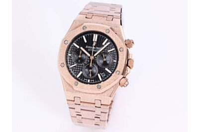 AP Royal Oak Watch Rose Gold Frosted Case Strap Black Grande Tapisserie Dial Counters Date Applied Markers
