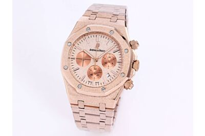 AP Royal Oak Watch Rose Gold Frosted Dial Counters Date Applied Markers Rose Gold Octagonal Case Strap Imitation
