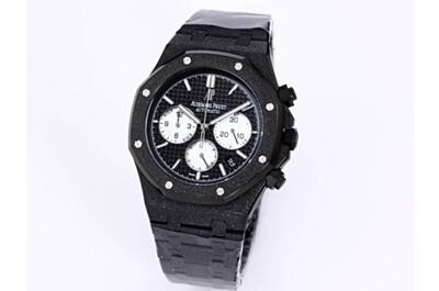 AP Royal Oak Watch Black Grande Tapisserie Dial White Counters Date Applied Markers Frosted Black Strap