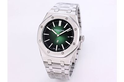 """High-End AP Royal Oak """"Jumbo"""" Extra-Thin Stainless Steel Case & Strap Smoked Green Dial White Applied Hour-Markers And Royal Oak Hands Watch Replica"""