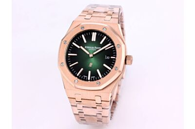 """High-End Ap Royal Oak """"Jumbo"""" Ultra-Thin Rose Gold Case And Strap, Smoke Green Dial, White Applied Hour Markers And Royal Oak Hands Watches"""