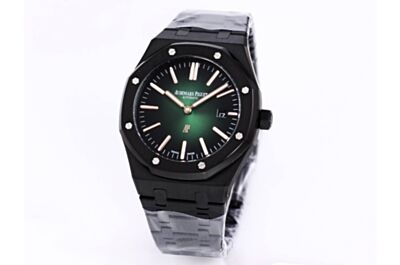 """Replica AP Royal Oak """"Jumbo"""" Ultra-Thin Smoked Green Dial White Application Hour Mark Date Black Stainless Steel Case Watch"""