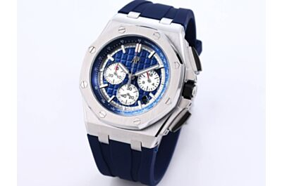 Exquisite AP Royal Oak Sliver Case Blue MéGa Tapisserie Pattern Dial Date White Three-Dimensional Hour Markers White Counters Watch