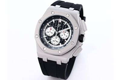 High-End AP Offshore Watch MéGa Tapisserie Dial Black Inner Bezel White Hours Minutes And Seconds Counters Stainless Steel Case & Bezel