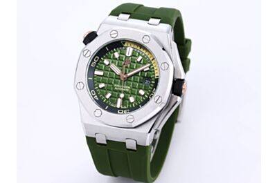 New Fake AP Royal Oak Offshore Watch Green MéGa Tapisserie Dial Applied Hour Marker Stainless Steel Case Green Rubber Strap