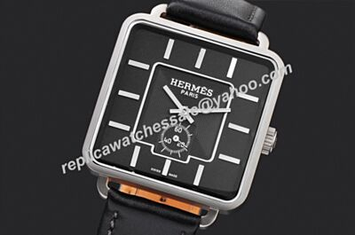 mens Hermes Ref 035721WW00 Carre H White Gold SS Case Automatic Watch