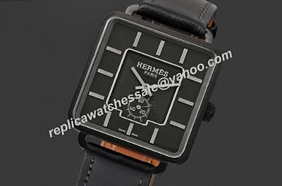 Fake Hermes All Black Design Gents Titanium Limited Edition Wristwatch