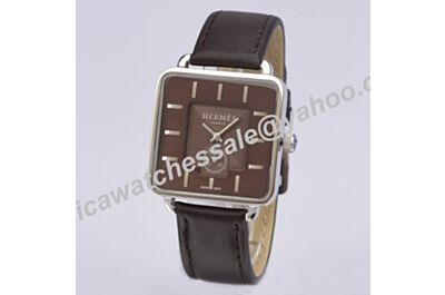 Hermes Carre H 18k White Gold Bezel Brown Band 37mm Automatic Movement Watch