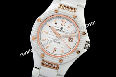 Audemars Piguet Offshore Lady White Diamonds Ceramic Bracelet Women's  Quartz Watch