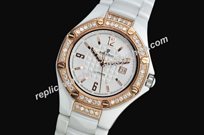 AP Offshore Chronograph Lady  Diamonds Bezel Ceramic White Replica Dress 34mm Watch