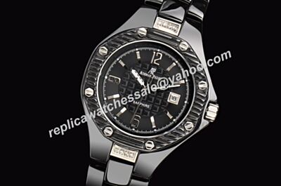 Audemars Piguet Offshore Lady Ceramic Diamonds Carbon Black 34mm Date Watch