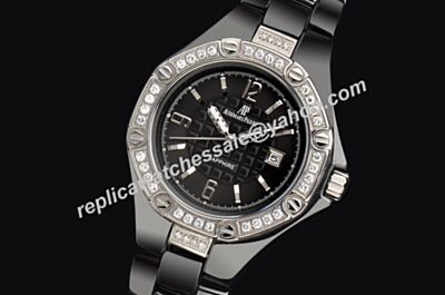 AP Lady  Diamonds Bezel Offshore Ceramic Bracelt ALL Black Date Faux Dressing Watch