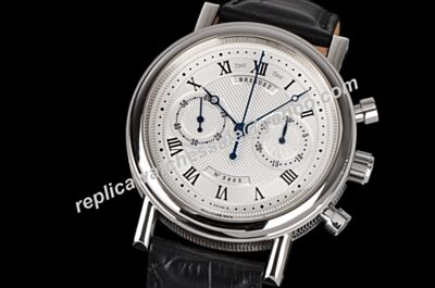 Swiss Replica Breguet 3863 Classique Complications Chronograph Black Leather Strap Watch