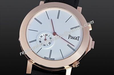 Gents Piaget Altiplano Double-deck Quartz Black Leather Watch Replica