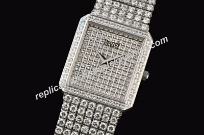 Ladies Piaget Exceptional Pieces Paved Diamonds Face Square Case  Jewelry Watch
