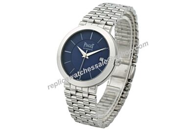 Swiss Piaget Dancer&Traditional White Gold Quartz Calibre Men Blue Watch BJ096