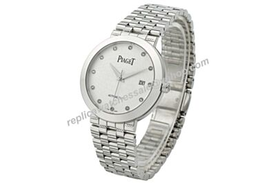 Swiss Piaget Dancer & Traditiona Diamonds Men White Gold Date Fake Watch BJ097