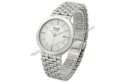 Swiss Piaget Dancer&Traditional Gents White Gold Quartz Calibre Date Watch BJ099
