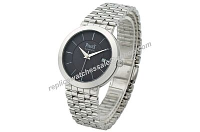 Piaget Dancer & Traditional Swiss Movement 38mm Men All Silver Black Watch BJ100