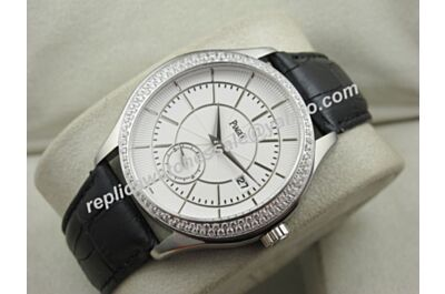 Gents Swiss Piaget G0A37111 Black Tie Diamonds Bezel Auto Watch Clone BJ125