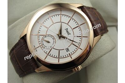Swiss Movement Piaget Black Tie Men Rose Gold Date Fake Auto Watch BJ127