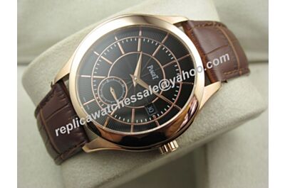 Swiss Made Piaget Black Tie Rose Gold Bezel Auto Men 43mm Date Watch BJ128