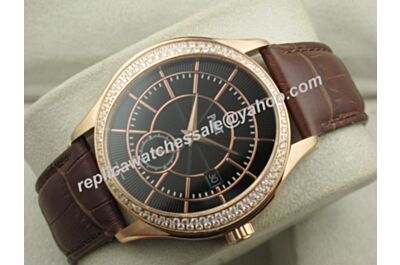 Gents Swiss Piaget Black Tie Diamond Automatic Date Brown Leather Watch Copy BJ129