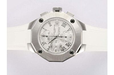 Baume&Mercier Riveria Chrono Ref MOA08727 Swiss Silver Bezel White Strap Watch BM002