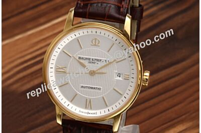 Baume&Mercier Classima Champagne Gold 39mm Swiss Men Automatic Leather Watch BM015