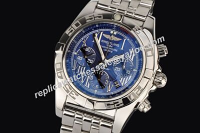 Breitling Ref AB011011/F546 Royal Blue Luminous Silver SS Chronomat 44mm Datw Watch Fake