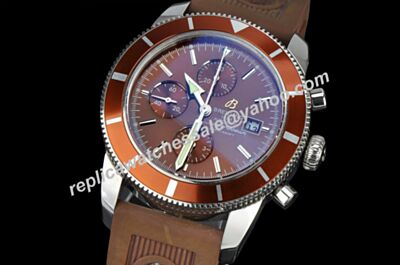 Breitling Swiss Superocean 44 Heritage Gmt C1334112/BA84/437X/A20BA.1 Brown Special Chronograph Rubber Strap Watch BNL044