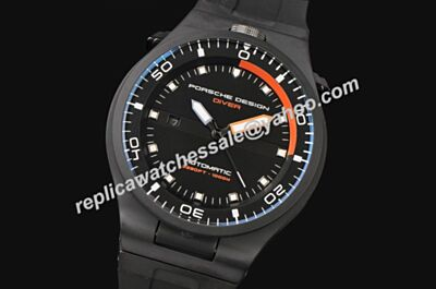 Mens Porsche Design P'6780 Diver All Black Luminous 46mm Auto Date Watch
