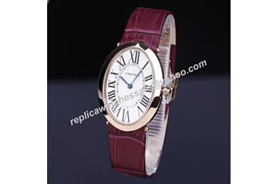 Cartier Baignoire W8000013 Rose Gold Oval Case Plum Leather Strap Quartz Watch Replica